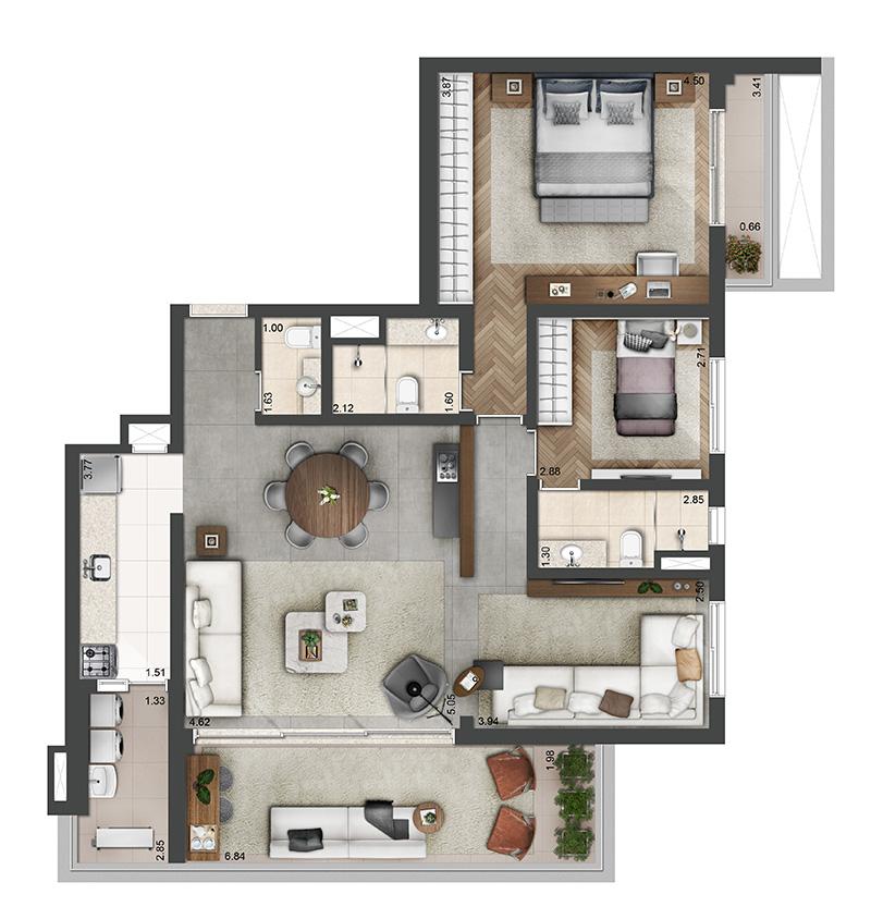 118m²-2-quartos-3-banheiros-2-vagas