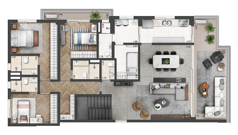 307m²-Duplex-3-quartos-4-banheiros-3-vagas-pav.-inferior-planta-opção