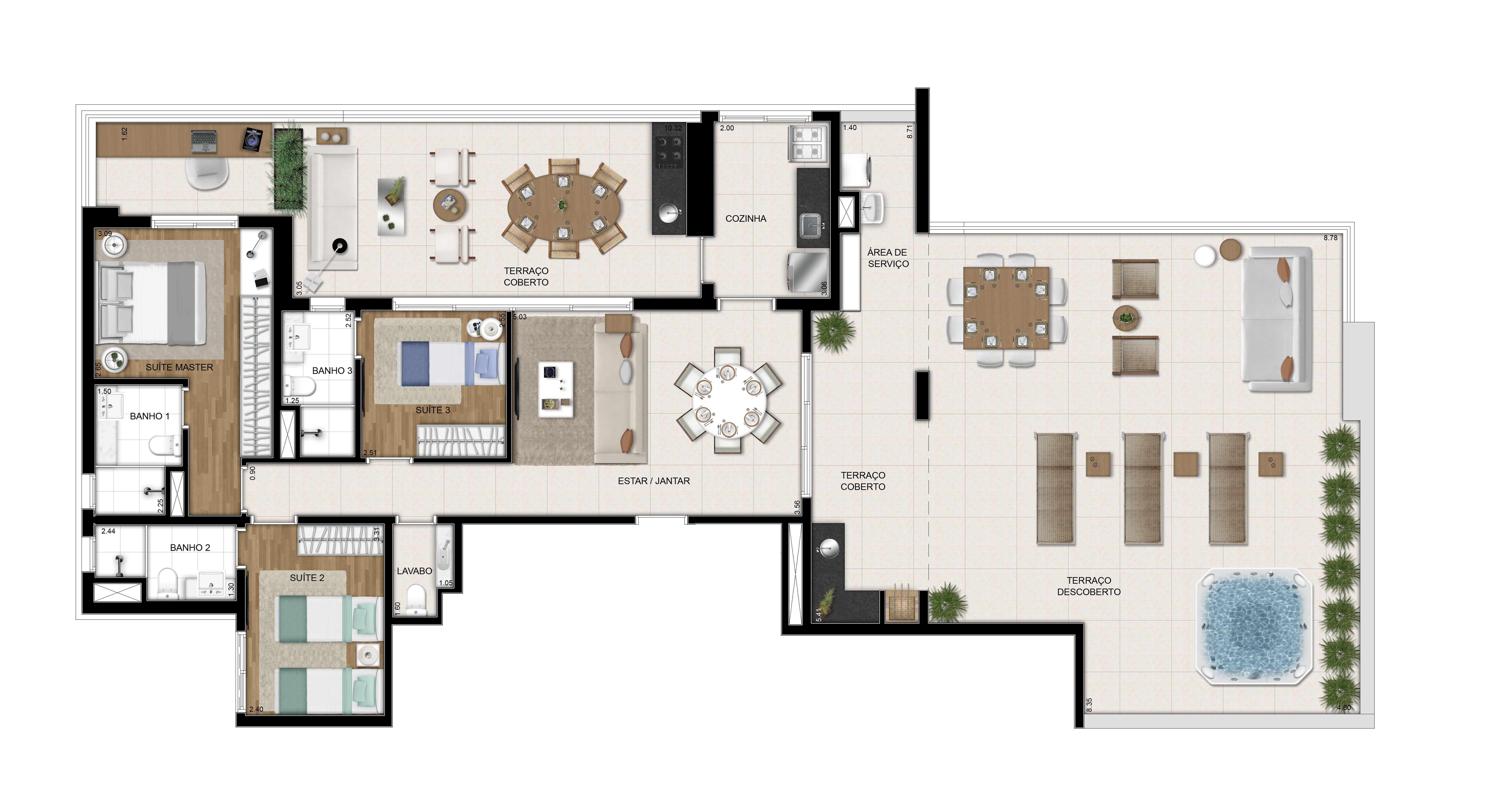 Planta Penthouse - 187,23m²