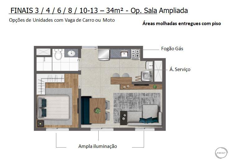 34m2 - Opção Sala Ampliada