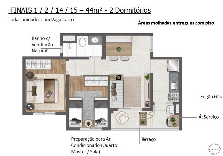 44m2 - 2 Dorms