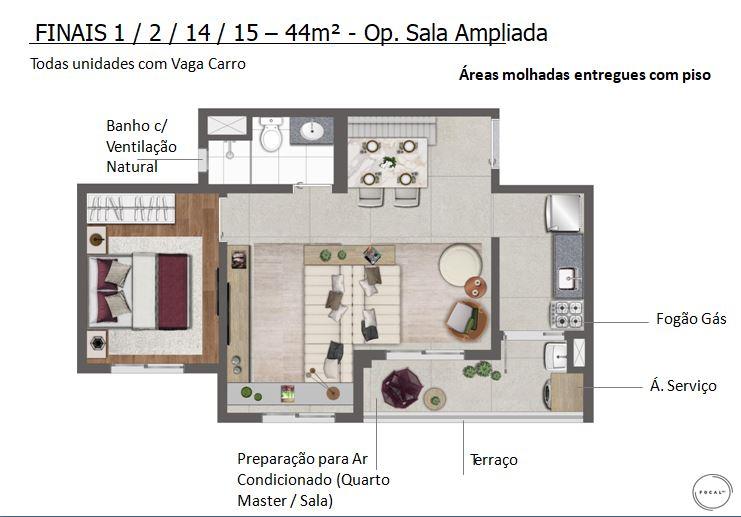 44m2 - Opção Sala Ampliada