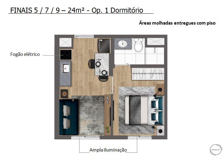 Studio 24m2 opção 1 dormitório